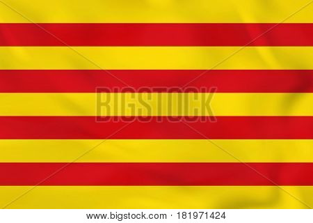 Catalonia Waving Flag. Catalonia National Flag Background Texture.