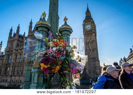 London, Uk - March 25, 2017: Flower Tributes For The Victims Of The March 22 Terrorist Attack At Wes