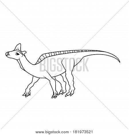 Coloring book: Lambeosaurus dinosaur on a white background
