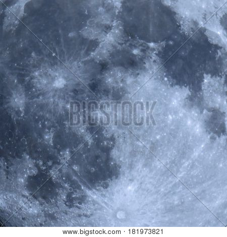 Full Moon Surface Seen With Telescope