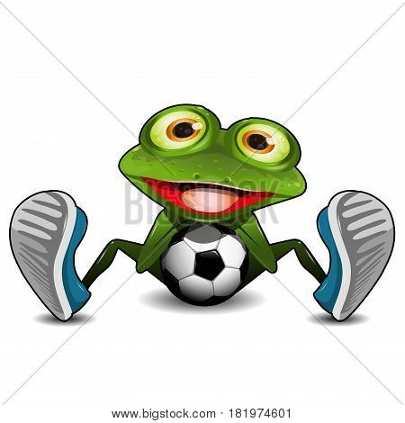 Illustration Green Frog Sitting with a Soccer Ball