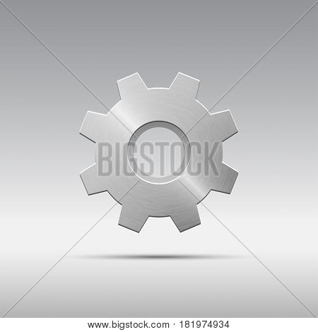 Icon metal gear with eight cogs and witout spoke isolated on grayscale background. Brushed texture. Vector illustration