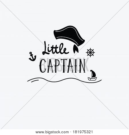 Vector Illustration Little Captain Lettering With A Ship, Rudder And Anchor. Kids Logo Emblem. Texti