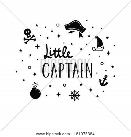 Vector Illustration Little Captain Lettering With A Ship, Rudder, Bomb, Anchor And Skull. Kids Logo