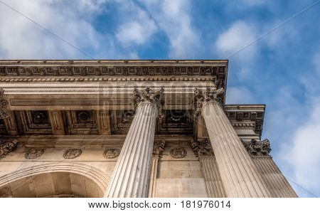 Pillars of the Wellington arch monument at constitution hill in London