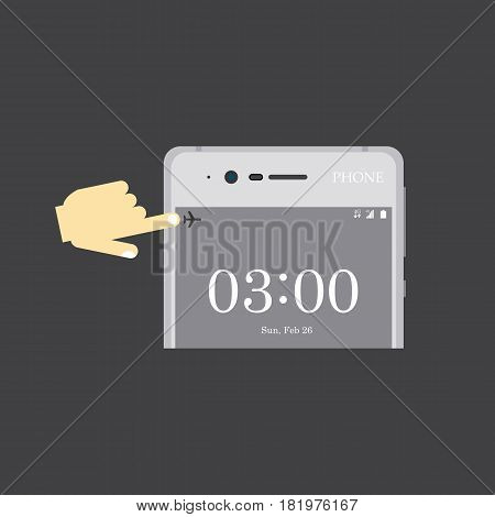 Airplane mode illustration on the grey background. Vector llustration