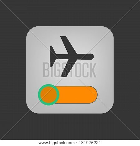 Airplane mode icon on the grey background. Vector llustration