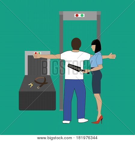 Airport security control illustration on the green background. Vector llustration