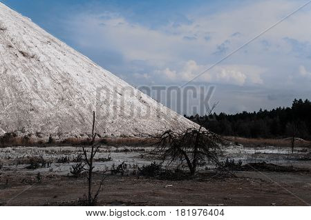 White Chemical Mountains. Production Wastes Of Chemical Plant.
