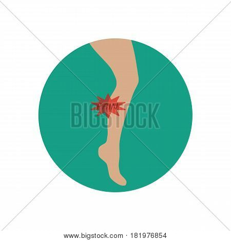 Calf muscle pain illustration on the white background. Vector llustration