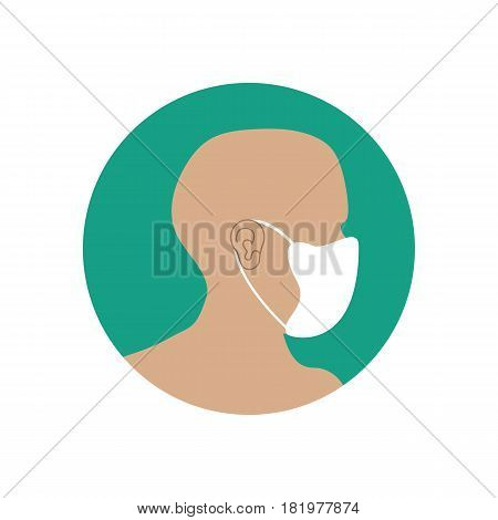 Medical respirator immunity mask on the green background. Vector llustration