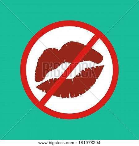 No kisses sign on the green background. Vector llustration