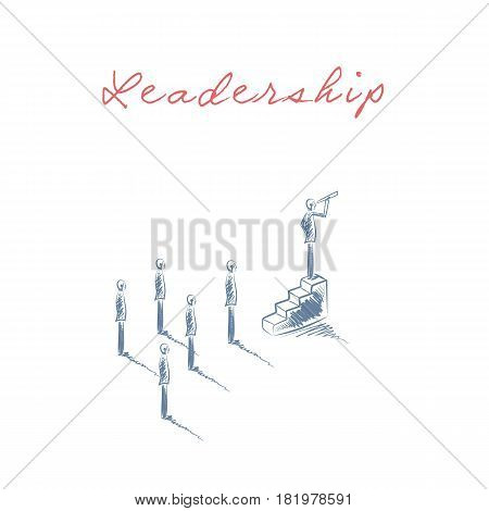 Business leadership concept vector with businessman looking through a telescope at aim, goal, objective. Corporate symbol hand drawn sketch. Eps10 vector illustration.