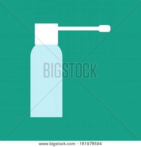 Spray for throat on the green background. Vector llustration