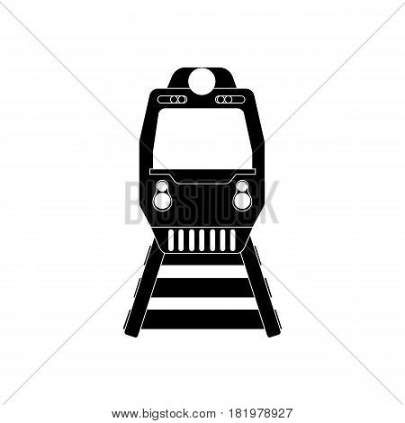 Train silhouette on the white background. Vector llustration