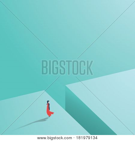 Businesswoman as a syperhero facing challenge, obstacle. Symbol of woman power in business. Eps10 vector illustration.