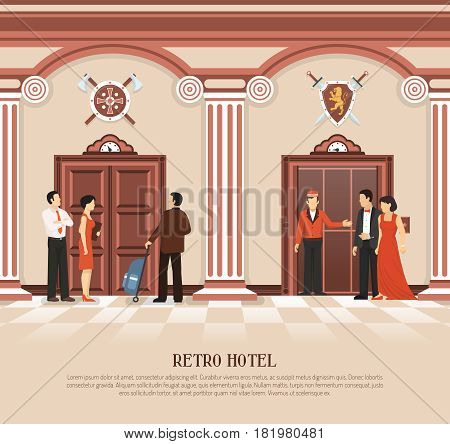 Retro elevator composition with people in hotel elevator hall interior and vintage lift doors with text vector illustration