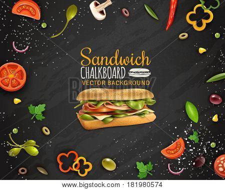 Sandwiches with ham cheese fresh paprika tomato onion champignons and olives realistic chalkboard background advertisement poster vector illustration