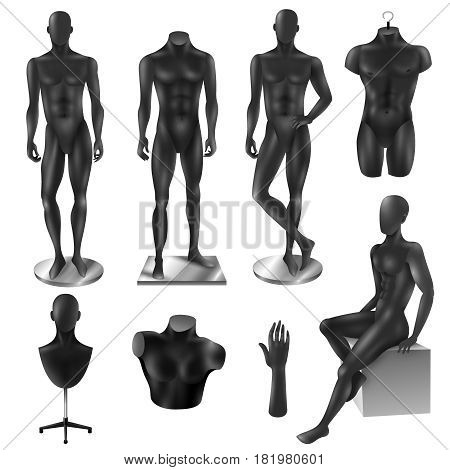 Retail window display black realistic sport fashion male full body and partial mannequins collection isolated vector illustration