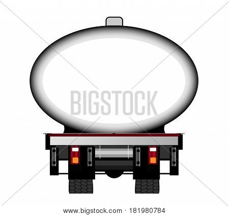 The rear end of a large fuel tanker over a white background with copy space
