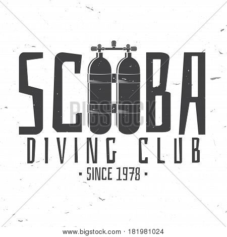 Scuba diving club. Vector illustration. Concept for shirt or logo, print, stamp or tee. Vintage typography design with dive tank silhouette.