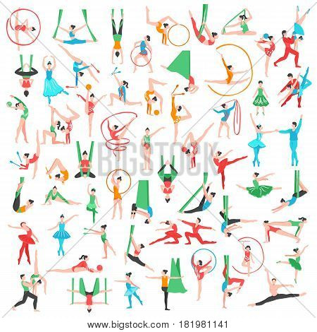 Gymnastics and ballet big set including dancers trapeze artists acrobats girls with sports tools isolated vector illustration