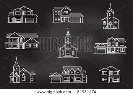 Set of thin line icon suburban american houses and churches on the chalkboard. For web design and application interface, also useful for infographics. Vector illustration.