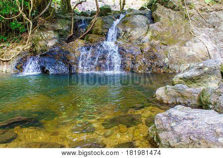 Little Sarika Waterfall In Small Rock Lake Around Forest At Khao Yai National Park - Nakhon Nayok Pr