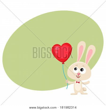 Cute and funny rabbit, bunny holding red heart shaped balloon, cartoon vector illustration with space for text. Rabbit, bunny holding heart balloon, easter, birthday greeting decoration