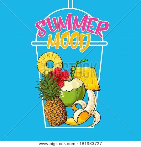 Outline of cocktail cup filled with summer fruits - pineapple, banana, coconut, sketch vector illustration. Poster, banner design with hand drawn pineapple, banana, coconut and summer mood lettering