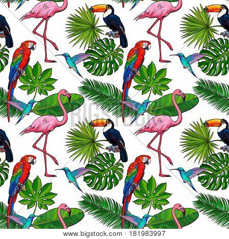 Seamless pattern, backdrop design of tropical palm leaves, birds, flowers, sketch vector illustration isolated on white background. Hand drawn tropical palm leaves, birds, flowers seamless pattern