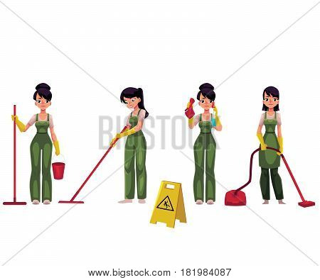 Set of cleaning service girl, charwoman, cleaner in overalls, cartoon vector illustration isolated on white background. Cleaning service girl doing vacuum cleaning, washing, holding mop and bucket