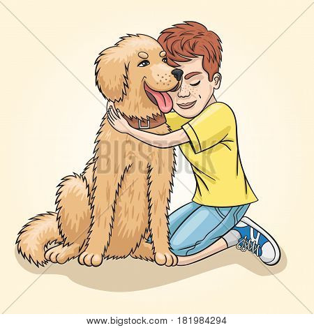 Boy and dog are best friends for each other.