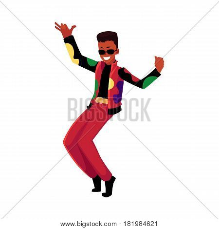 Black, African American man, guy in 1980s style clothes dancing disco, cartoon vector illustration isolated on white background. Black man in 80s style clothing dancing at retro disco party