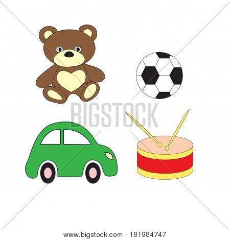 A set of toys of the car of a drum, bear and soccerball for the boy. A vector picture on a white background