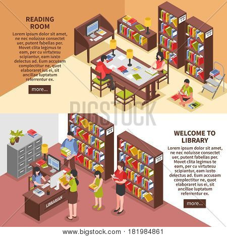 Library isometric horizontal banners with books reading room employee visitors computer technologies interior elements isolated vector illustration