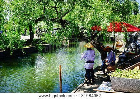 Canal At Kurashiki Ancient Town In Japan