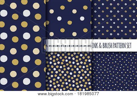 Set of seamless vector free hand polka dot and cirle textures, dry brush ink art. Vector illustration.