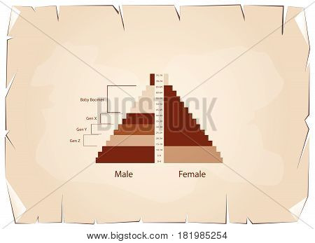 Population and Demography, Population Pyramids Chart or Age Structure Graph with Baby Boomers Generation, Gen X, Gen Y and Gen Z on Old Antique Vintage Grunge Paper Texture Background.