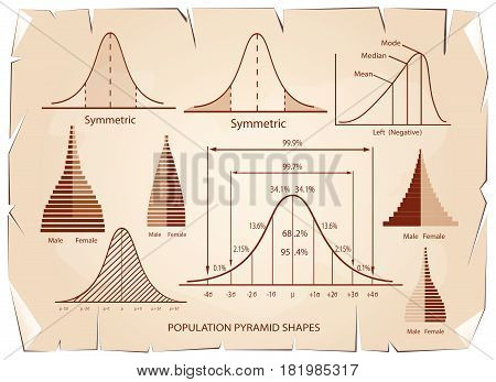 Business and Marketing Concepts, Standard Deviation, Gaussian Bell or Normal Distribution Population Pyramid Chart for Sample Size Determination on Old Antique Vintage Grunge Paper Texture Background.