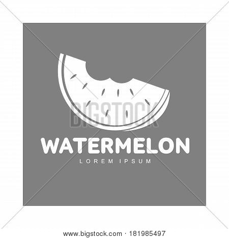 monochrome logo template with stylized watermelon slice with two bites, vector illustration isolated on grey background. Watermelon logotype, logo design with bitten watermelon piece