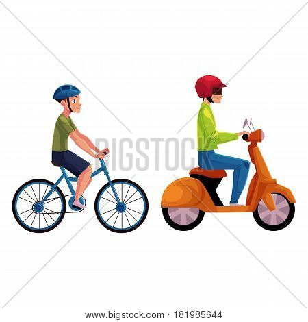 Scooter, moped and bicycle riders, drivers, riders wearing helmet, side vew, cartoon vector illustration isolated on white background. Motorcycle and bicycle, two types of typical urban transport