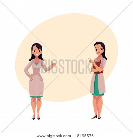 Two female, woman doctors in white medical coats, one showing thumb up, another holding clipboard, cartoon vector illustration with space for text. Full length portrait of two female doctors
