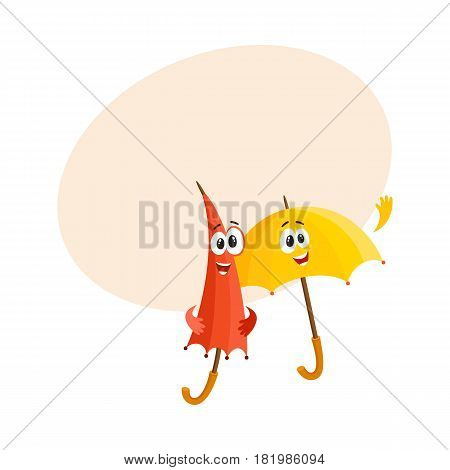 Two funny umbrella characters with human faces, open and closed, saying hello, cartoon vector illustration with space for text. Couple of funny umbrella, parasol characters, greeting gesture