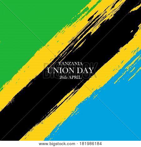 Tanzania Union Day celebration card. Brush stroke holiday background. Vector illustration.