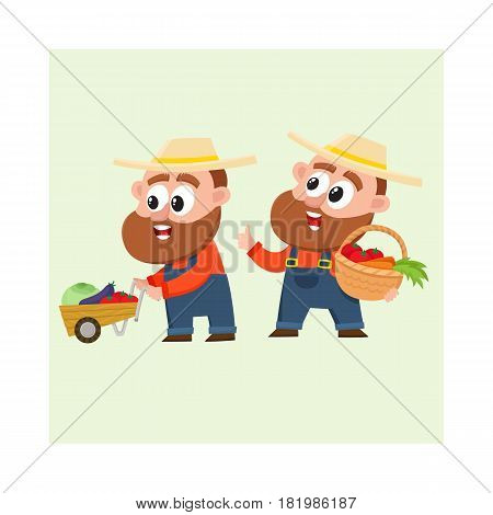 Funny farmer characters in overalls harvesting vegetables, one pushing handcart, another holding basket, cartoon vector illustration isolated on white background. Couple of comic farmer characters