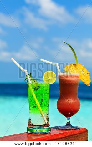 Two glasses of the soft drink. (Maldives The Indian Ocean)