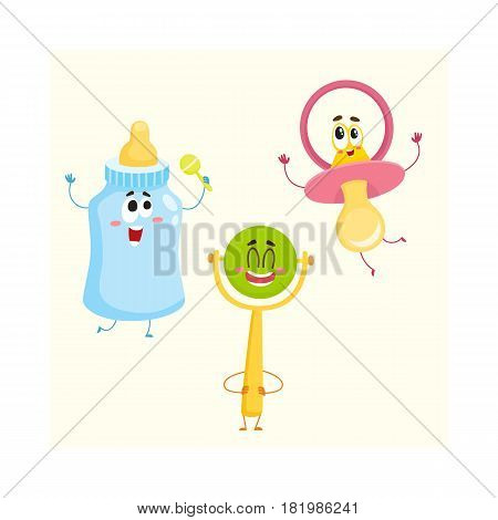Funny baby pacifier, milk, bottle and rattle toy characters, child care concept, cartoon vector illustration isolated on white background. Baby dummy, feeding bottle and rattle toy characters