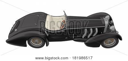 black retro car cabriolet view above isolated on white 3d rendering