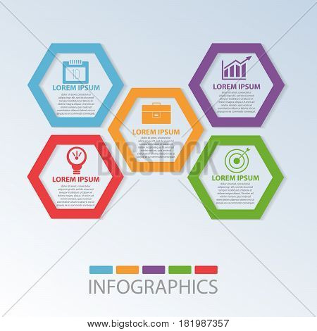 Vector Illustration. Template With 5 Colored Geometric Shapes Hexagons For Infographics, Business, P